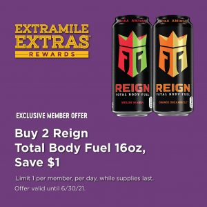 Two cans of reign body fuel sports beverages