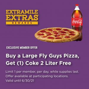 Fly Guys Pizza and 2-liter coke