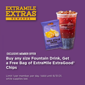 Any size fountain drink and a free ExtraGood Chips promo