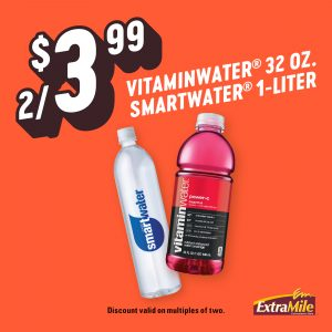 2/$3.99 Vitaminwater® 32 oz. Smartwater® 1-Liter Discount valid on multiples of two.